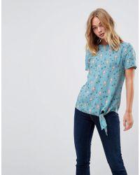 Sugarhill - Mermaid Print Tie Front Top - Lyst