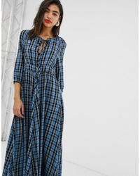 MAX&Co. - Midaxi Dress In Check - Lyst
