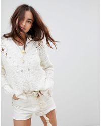 Hollister - Slouchy Ribbed Knit With Lace Up Detail - Lyst