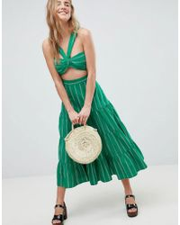 ASOS - Tiered Cotton Midi Skirt In Green Stripe Two-piece - Lyst