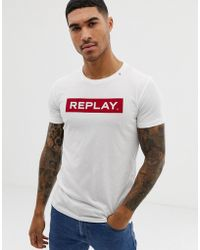 Replay - Bold Logo Crew Neck T-shirt In White - Lyst