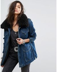 One Teaspoon - Longline Denim Jacket With Faux Fur Collar - Lyst