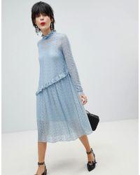Pieces - Lace Midi Dress - Lyst