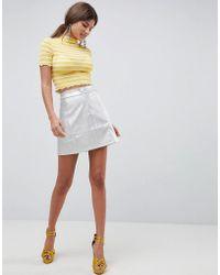 Traffic People - Metallic A Line Mini Skirt - Lyst