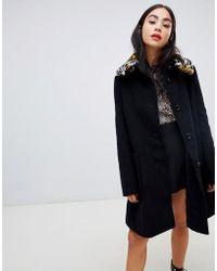 Love Moschino - Leopard Faux Fur Collar Swing Coat - Lyst