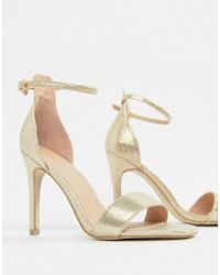 New Look - Square Toe 2-part Heeled Sandal - Lyst