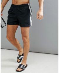 adidas - Swim Shorts With Stripes In Black Cv5137 - Lyst