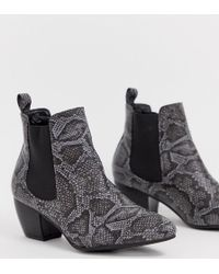 1e3c466ccd29 Oasis - Heeled Chelsea Boots In Snake Print - Lyst