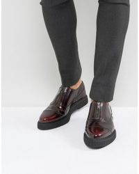 ASOS - Zip Front Shoes In Burgundy Leather With Creeper Sole - Lyst