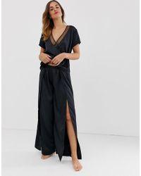 Bluebella - Adeline Long Pyjama Set With Thigh Split In Black - Lyst