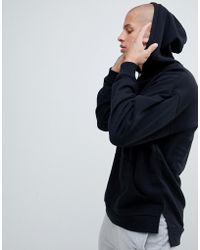 ASOS - Oversized Hoodie With Step Hem In Black - Lyst