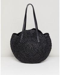 Warehouse - Circle Straw Bag In Black - Lyst