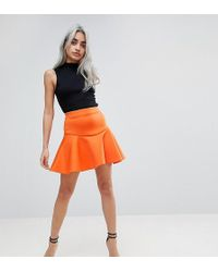 ASOS - Scuba Mini Skirt With Frill - Lyst