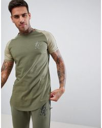 e4d07daa Gym King - Muscle Logo T-shirt In Khaki With Contrast Sleeves - Lyst