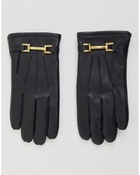 ASOS - Leather Gloves In Black With Gold Metal Details - Lyst