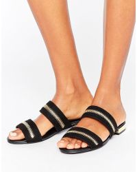 Missguided - Zip Double Strap Sandals - Lyst