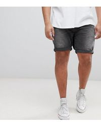 ASOS - Plus Denim Shorts In Slim Washed Black With Abrasions - Lyst