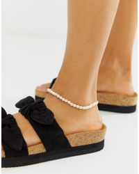 ASOS - Anklet In Mini Faux Freshwater Pearls In Gold Tone - Lyst