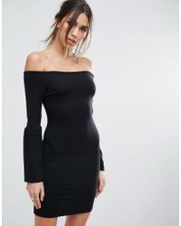 cf0304fd24f0 Lyst - ASOS Long Sleeve Off The Shoulder Bardot Bodycon Mini Dress ...