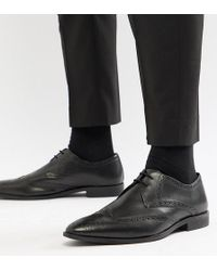 Frank Wright - Wide Fit Wing Tip Brogue Shoes In Black Leather - Lyst