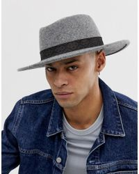59378c862eb146 ASOS - Wide Brim Pork Pie In Gray With Vintage Inspired Band Detail - Lyst