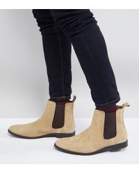 ASOS - Wide Fit Chelsea Boots In Stone Suede - Lyst