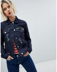 Love Moschino - Embroidered Denim Jacket - Lyst