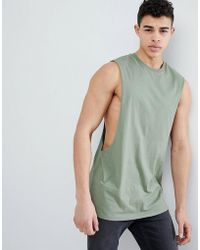 ASOS - Longline Vest With Extreme Dropped Armhole In Green - Lyst
