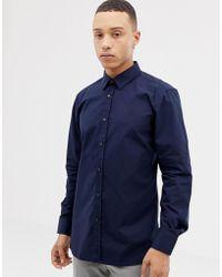 HUGO - Elisha01 Extra Slim Fit Poplin Shirt In Navy - Lyst
