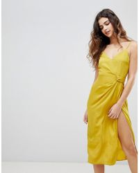 ASOS - Design Sexy Hammered Satin Midi Dress With Knot Side - Lyst