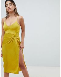 ASOS - Sexy Hammered Satin Midi Dress With Knot Side - Lyst