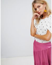 Warehouse - Short Sleeve Blouse In Bee Print - Lyst