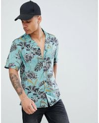 Pull&Bear - Floral Shirt With Revere Collar In Green - Lyst