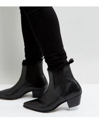 ASOS - Wide Fit Stacked Heel Western Boots In Black Leather With Lightning Detail - Lyst