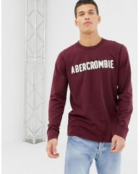 738f278f Abercrombie & Fitch - Logo Applique Long Sleeve Top In Burgundy - Lyst