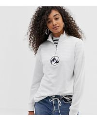 Daisy Street - Half Zip Sweatshirt With Mountain Embroidery - Lyst