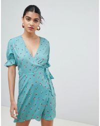Fashion Union - Wrap Dress With Frill Sleeves In Ditsy Floral - Lyst