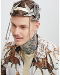 ASOS - Design Festival Style Crown With Chains In Burnished Gold - Lyst
