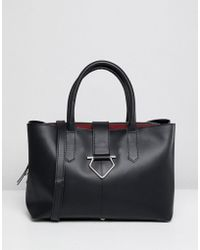 ASOS - Design Leather Soft Lock Tote Bag With Tablet Compartment - Lyst