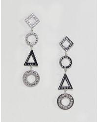 ASOS - Hammered Geo Shape Strand Earrings - Lyst