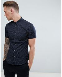 New Look - Muscle Fit Shirt In Navy Polka Dot - Lyst