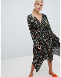 Vila - Floral Wrap Midi Dress - Lyst