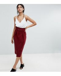 ASOS - Tailored Pencil Skirt With Self Belt And Paperbag Waist Detail - Lyst