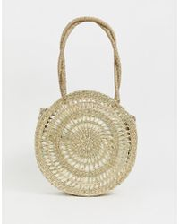 ASOS - Circle Straw Shopper Bag With Pouch - Lyst