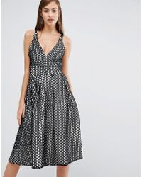 The 8th Sign - The Lace V-neck Skater Midi Dress - Lyst