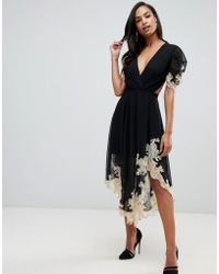 ASOS - Soft Midi Dress With Lace Inserts - Lyst