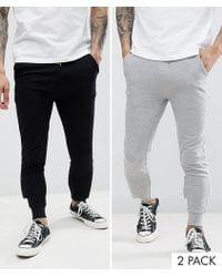ASOS - Super Skinny joggers 2 Pack Black/grey Marl - Lyst