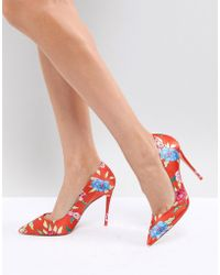ALDO - Heeled Court Shoe In Red Floral Print - Lyst