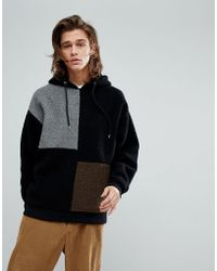 ASOS - Oversized Borg Hoodie With Colour Blocking - Lyst