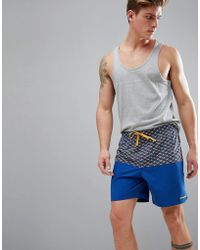 Patagonia - Stretch Wavefarer Volley Swim Shorts Printed In Blue - Lyst
